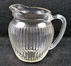 Vintage Hazel Atlas Clear Glass Round Ribbed Cream Pitcher. 4