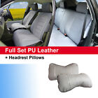 Gray PU Leather Suede 5 Car Seat Covers Cushion Front Rear 803551 Jeep