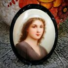 Signed WAGNER Ruth miniature German Porcelain Portrait Painting Plaque oval KPM?