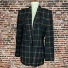 Vintage 80s Sport Coat Womens Blazer Suit Jacket BLack Plaid XL L Chaus