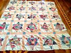 VINTAGE HAND STITCHED FEED SACK / FLOUR SACK QUILT TOP  STAR PATTERN