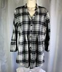 BCBG Miley Cyrus Black Plaid Peasant Boho Long Sleeve Shirt Blouse Women's XL