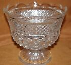 WEXFORD GLASS LARGE CRYSTAL FOOTED COMPOTE FRUIT BOWL DIAMOND PATTERN UNUSED