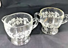 Vintage sugar bowl and creamer clear glass with frosted grape vines