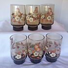Vintage Libbey Butterfly Glasses Mid Century Tumbler Retro Amber Flowers Set 6