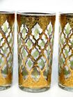 3 SiGNED CULVER VALENCiA 22K GOLD GREEN DiAMOND 12 oz HiGH BALL GLASSES TUMBLER