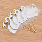 5pcs Swan Crown Feather Cupcake Toppers Party Birthday Party Decoration Suppies