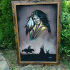 Vintage Black Velvet Native American Indian Woman Framed Painting 40X28