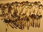 LOW GRADE SILVERPLATE WIDE MOUTH SPOONS SERVING FORKS ETC. LOT