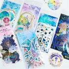 60Pcs Pack Stationary Scrapbooking Galaxy Paper Stickers Diary Label Phone Decor