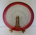 Indiana Glass Diamond Point Edge Ruby Flashing Glass Cake Plate Round Platter