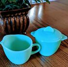 MINT JADEITE FIRE KING JANE RAY CREAMER AND SUGAR SET JADITE