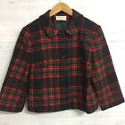 Vintage Pendleton Womens 14 Cropped Pea Coat Tartan Plaid Red Green Wool Jacket