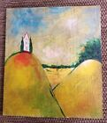 Primitive Folk Art HOUSE On Mountain Painted On Old Board Painting