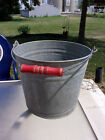 Vintage Galvanized Tin Bucket Red Wooden Wire Handle Country Farm