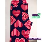 LuLaRoe TC Leggings Navy Pink Red Hearts Brand New NWT