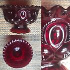 LE Smith Glass Moon  Stars Ruby Red Round Crimped Compote Bowl Glass