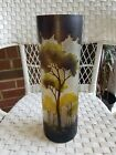 French Art Nouveau Glass Cameo Acid Etched Vase 15 tall