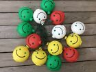 Vintage 14 Large Smiley Face Blow Mold String Party Lights Camper Pool Patio!