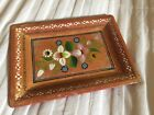 Vintage Hand Painted Floral Tole Small Wood Dresser Serving Tray