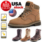 Mens Steel Toe Work Boots Pull On Safety Genuine Leather Oil Resistant Brown