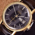 Authentic Omega Seamaster Day Date Black Dial Gold Plated Automatic Mens Watch