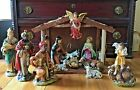 Vintage Musical LARGE Xmas Nativity Set 13 Figures Wooden Stable Made in Japan