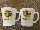 Vintage Fire King Anchor Hocking Rooster Milk Glass Mugs Set Of 2