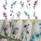 3Sheets Flower Butterfly Nail Art Water Transfer Decals Purple Stickers Decor