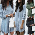 Womens Summer Casual Long Sleeve Denim Tassel Shirt Ladies Tops Blouse T-shirt