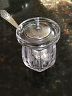 Etched Floral Glass Jam Jar with Sterling Cover Marked 143 with M Silver Spoon