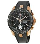 Seiko Sportura Chronograph Rose Gold Black Dial Rubber Men's Watch SNAF28P1