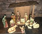 Vintage Hand Painted Nativity Wood Manger Creche Made in Japan 15 Pieces Musical