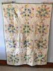 Vintage 1930s Hand Stitched Hexagon Feed Sack Quilt