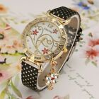 Women's Kim Seng Watch with pendant floral design black leather band