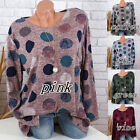 Plus S 5XL Women Long Sleeve Casual Polka Dot Printed T Shirt Pullover Tops USA