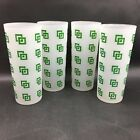 Frosted Green and White Geometric Pattern Tom Collins Glasses Set of 4