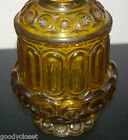 L.E. SMITH AMBER GLASS 1960'S  GLASS TWO PIECE FAIRY LAMP-MOON AND STARS