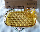 RARE FEDERAL GLASS YORKTOWN YELLOW GOLD SNACK SETS 4 trays/4 cups/box-(3) avail.