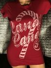 Candy Cane Red Pink Glitter T Short Cap Sleeve Retro Vintage Style M