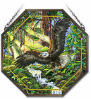 AMIA STAINED GLASS SUNCATCHER 15 X 15 OCTAGON PANEL EAGLE 41842