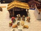 Vintage Sears Trim Shop Nativity Set Wooden Stable + 11 Figures 39 97889 w box