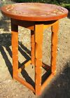 UNUSUAL COOL VINTAGE ARTS AND CRAFTS MISSION TABLE W/ ENGRAVED DESIGN ON TOP
