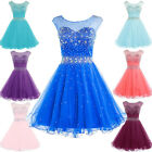 US Short Beaded Prom Homecoming Dress Party Cocktail Bridesmaid Gown Formal 6 8+