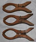 Three Antique Primitive Wooden Quilt / Blanket Large Clothes Pin Clamps