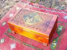 DECO ERA CEDAR WOOD CARVED JEWELRY BOX with DECOUPAGE VILLAGE TAVERN INN PRINT