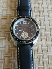 Nautica Men's N09910G  Black  Face & Black Leather Band Watch