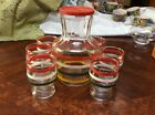 VINTAGE SRTIPED GLASS PITCHER with 6 JUICE GLASSES SET MID. CENTURY