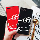 Hot Cute Hello Kitty Tempered Glass TPU Case Cover For iPhone X 7 8 6 6s Plus