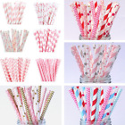 25Pcs Colorful Paper Drinking Straws Reusable Wedding Birthday Party Decor